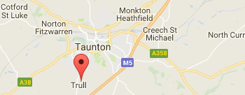 Map showing the location of All Saints Trull